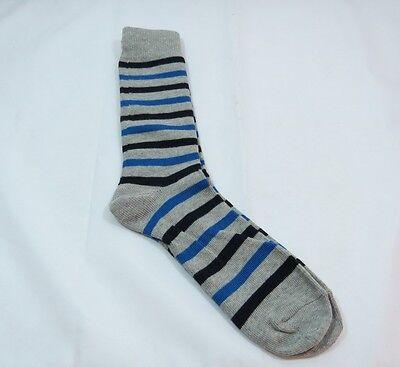 Thin Stripe Socks (Mens Mid calf Casual Thin Stripe Socks 80% cotton size 10-13 Gray Trim Soft B )