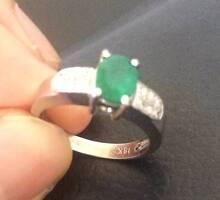 White Gold, Diamond and Emerald Ring Melbourne CBD Melbourne City Preview