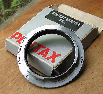 genuine pentax PK K M reverse ring to 49mm filter macro coupler bronze