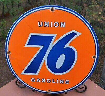 UNION 76 GASOLINE VINTAGE PORCELAIN ENAMEL GAS PUMP OIL SERVICE STATION SIGN