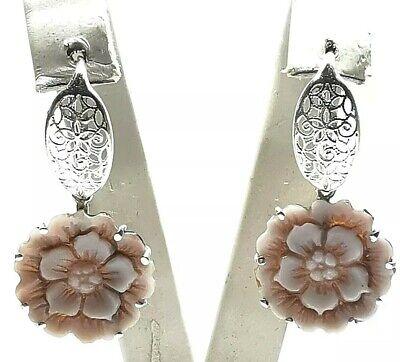 orecchini con cammeo sardonico pendente in argento 925 vintage shell artigianali