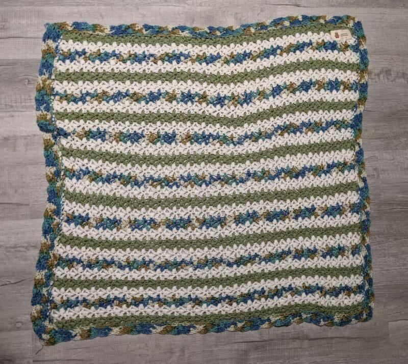 "Handmade Crochet Blanket Lap Throw 43""x43"" Baby Nursery Unisex Knit Blanket Blue"
