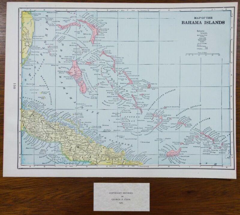 """Vintage 1900 BAHAMA ISLANDS Map 14""""x11"""" ~  Old Antique Original NASSAU FREEPORT"""