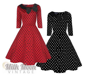 Vintage-Dress-1950s-1960s-Party-Red-Black-Polka-Dot-Sleeve-Collar-Size-UK-8-26