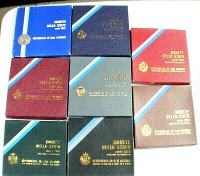 8- San Marino Coin Sets UNC W/ Silver Official Box 1972,75,76,77,78,79,80,81-WC3 - $121.55