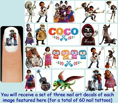 Disney Halloween Nail Decals (60x COCO Nail Art Decal + Free Gems Disney Pixar Movie Day of the Dead)