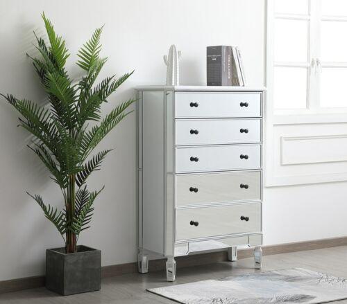Antique White Tall Mirrored Bedroom Dresser 5 Drawer Storage Chest Cabinet
