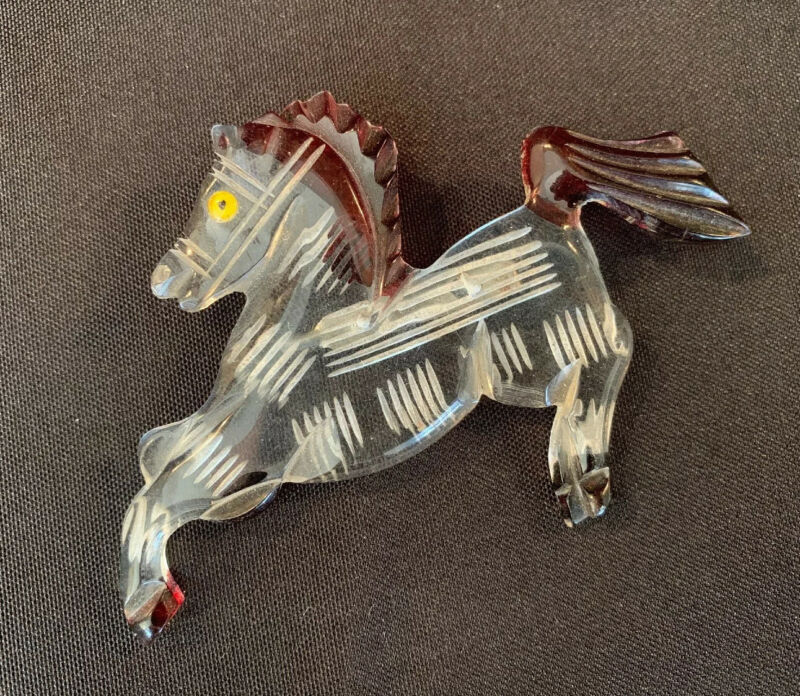 VINTAGE CARVED REVERSED PAINTED LUCITE BAKELITE ERA BUCKING HORSE PIN