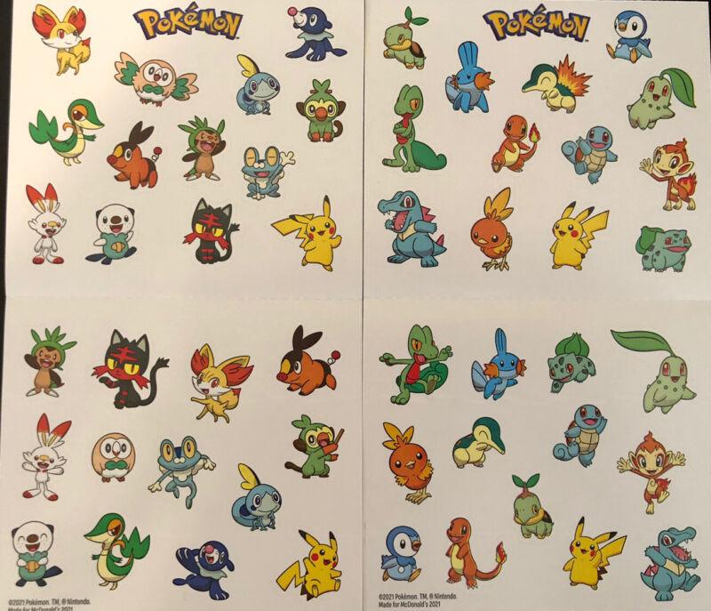 McDonald's 25th Anniversary Pokemon Stickers (Set Of 2 Unique Sheets)