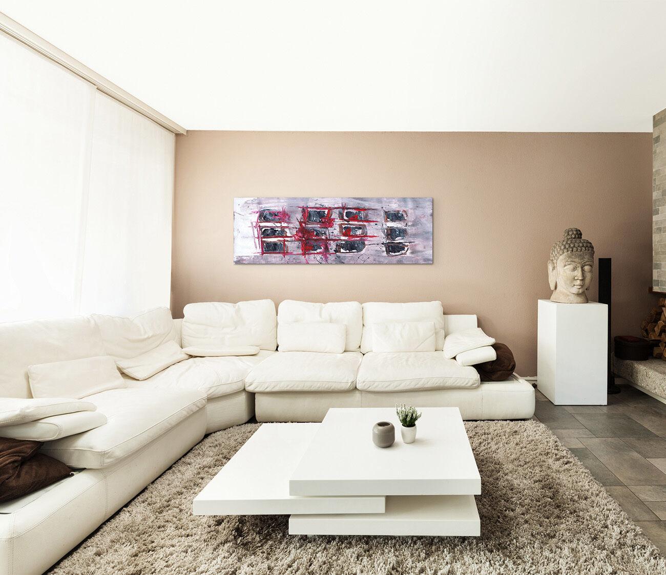 Leinwandbild panorama rot grau wei rosa paul sinus abstrakt 568 150x50cm eur 43 00 picclick de - Leinwandbild grau ...