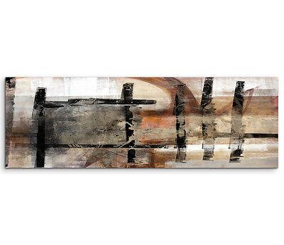 Leinwandbild Panorama schwarz braun beige grau Paul Sinus Abstrakt_751_150x50cm