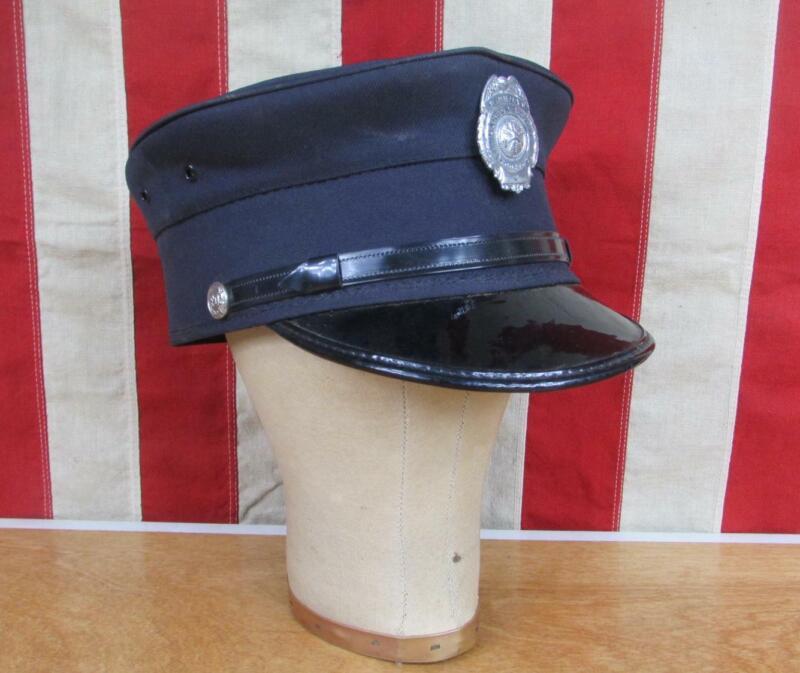 Vintage 1960s Firefighters Visor Cap Uniform Hat Harbor RFPD Brookings,OR. 7 1/4