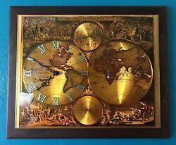Vintage Mid Century Modern Wall Clock Map Old World Gold Foil Nova Orbis De Wit