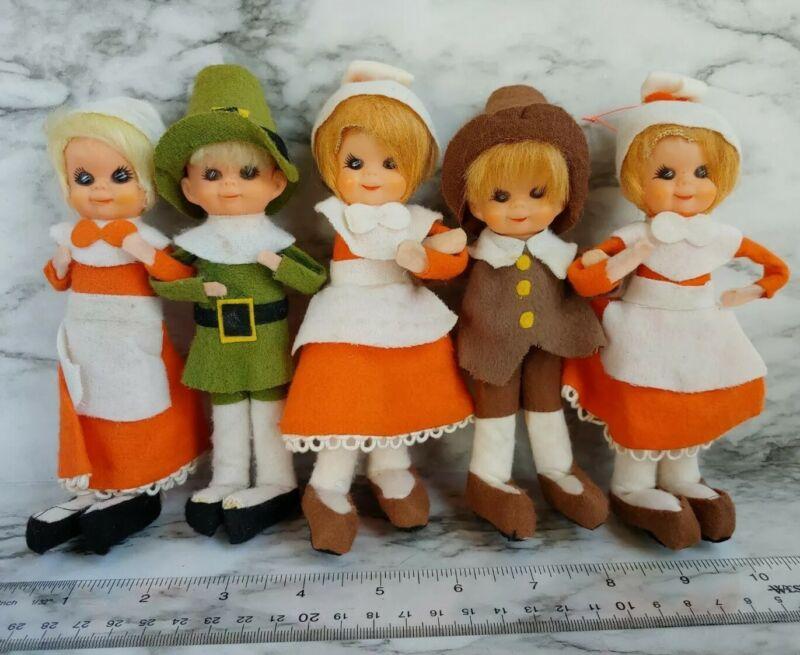 Vtg 1960s JAPAN Thanksgiving PILGRIM Linked Arm Boy Girl Hugger Elf Dolls KITSCH