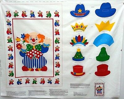 Clown & Hats Cut Out Sewing Crafting Fabric Panel 45x36 Wall Hanging Decor VIP