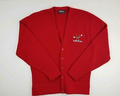 Vintage McBriar Red Embroidered The Club Logo Spell Out Cardigan Sweater XL USA