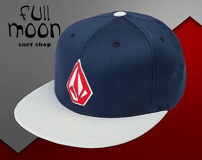 New Volcom Stone Stack Logo Mens Navy Flex Fit Cap - Navy Flex Fit Cap