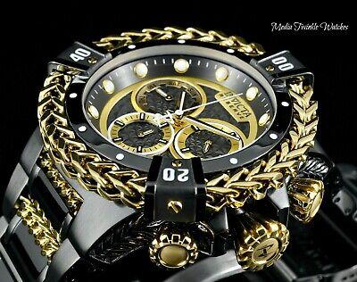52MM Invicta RESERVE Bolt HERCULES Black Gold Swiss Chronograph Bracelet -