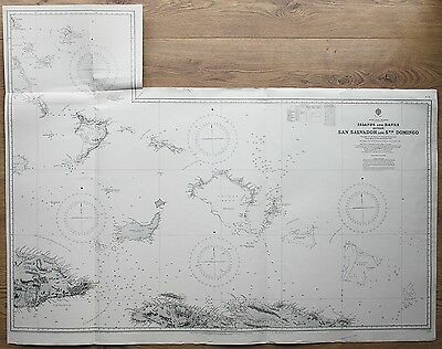 1829-32 WEST INDIA ISLANDS SAN SALVADOR TO SANTO DOMINGO ADMIRALTY CHART MAP