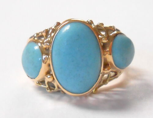 Unique Openwork Shank 14K Yellow Gold Triple Cabochon Turquoise Ring Size 5