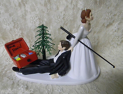 Wedding Party Fishing Cake Topper Red Hair on Bride Dark Hair Groom Tackle Box (Fishing Cake Toppers)