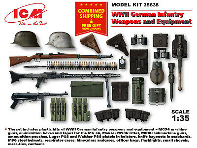 Wwii German Infantry Weapons - German Infantry Weapons and Equipment, WWII, plastic model kit, 1/35 ICM 35638