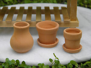 Miniature Dollhouse FAIRY GARDEN Accessories ~ Set of 3 Terra Cotta Pots ~ NEW