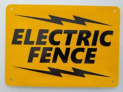 Reflective Electric Fence Sign 5 X 7 Galvanized Metal
