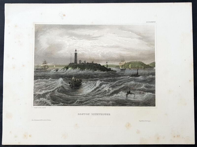 1855 Herrmann Meyer Antique Print View of Boston Lighthouse Little Brewster Isle