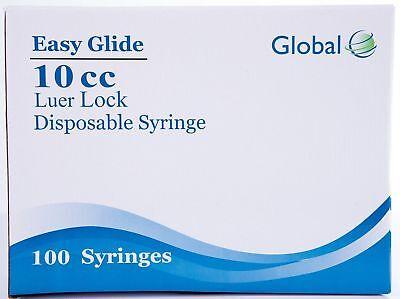 10cc Global Syringe With Luer Lock 10ml - 100 Sterile Syringes No Needle