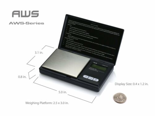 American Weigh Scales AWS-1KG-BLK Signature Series Black Digital Pocket Scale, 1