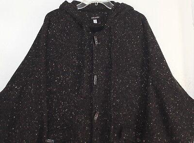 Eskandar -Sz 1 Brown Rich Woven Wool Herringbone Tweed Hooded Cape Coat](Brown Hooded Cape)