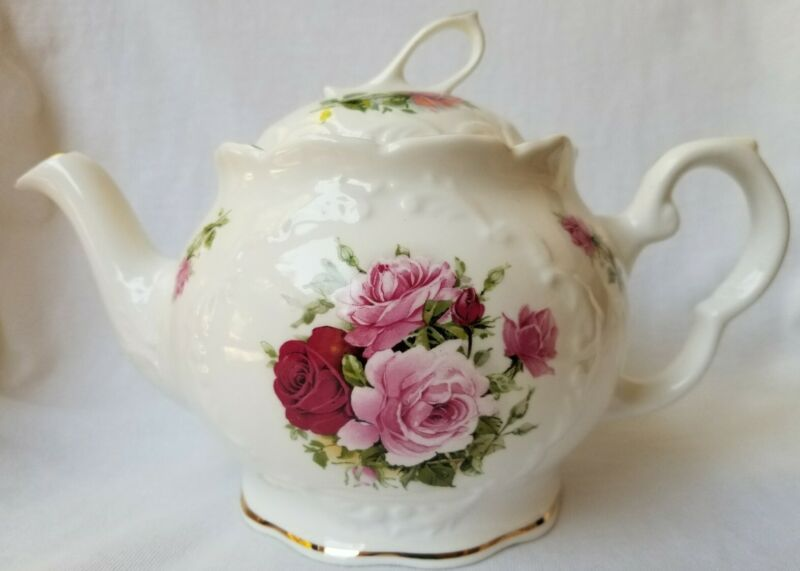 Royal Patrician TEAPOT Summertime Rose Staffordshire Vintage Bone China England