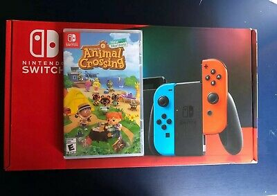 Nintendo Switch Cons Neon Joy Console NEWEST MODEL + Animal Crossing SHIPS TODAY