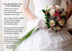 Personalised TO MY Sister ON HER Wedding DAY Poem Ideal TO Frame A4 OR Luxury A3