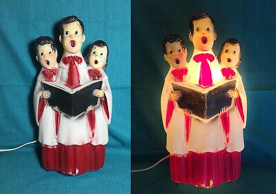 Vintage 13'' Blow Mold Plastic Christmas Carolers Light Up Decoration Holiday   (Plastic Christmas Decorations)