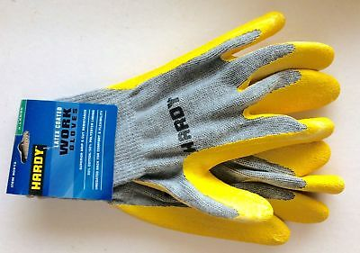 New HARDY Latex Coated Work Gloves Superior Grip & Cut Resistance! Size = LARGE