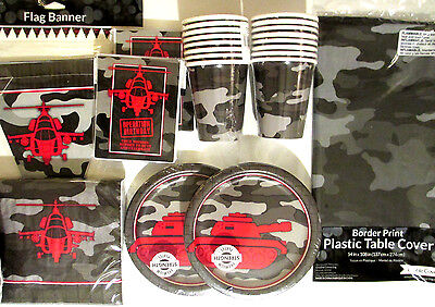 OPERATION ARMY CAMO - Birthday Party Supply Pack DELUXE Kit w/ Invites & Banner