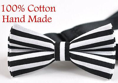 Men ELEMENTS STRIPE BLACK White Stripes 100% Cotton Hand Made Bow Tie Bowtie White Stripe Bow Tie