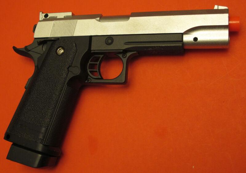Full Metal Body Airsoft Spring Pistol Hi-Capa 1911 Silver Top Slide Galaxy G6S