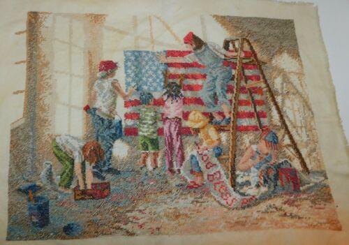 Finished Cross Stitch GOD BLESS AMERICA Flag Patriotic Americana 16 x 15