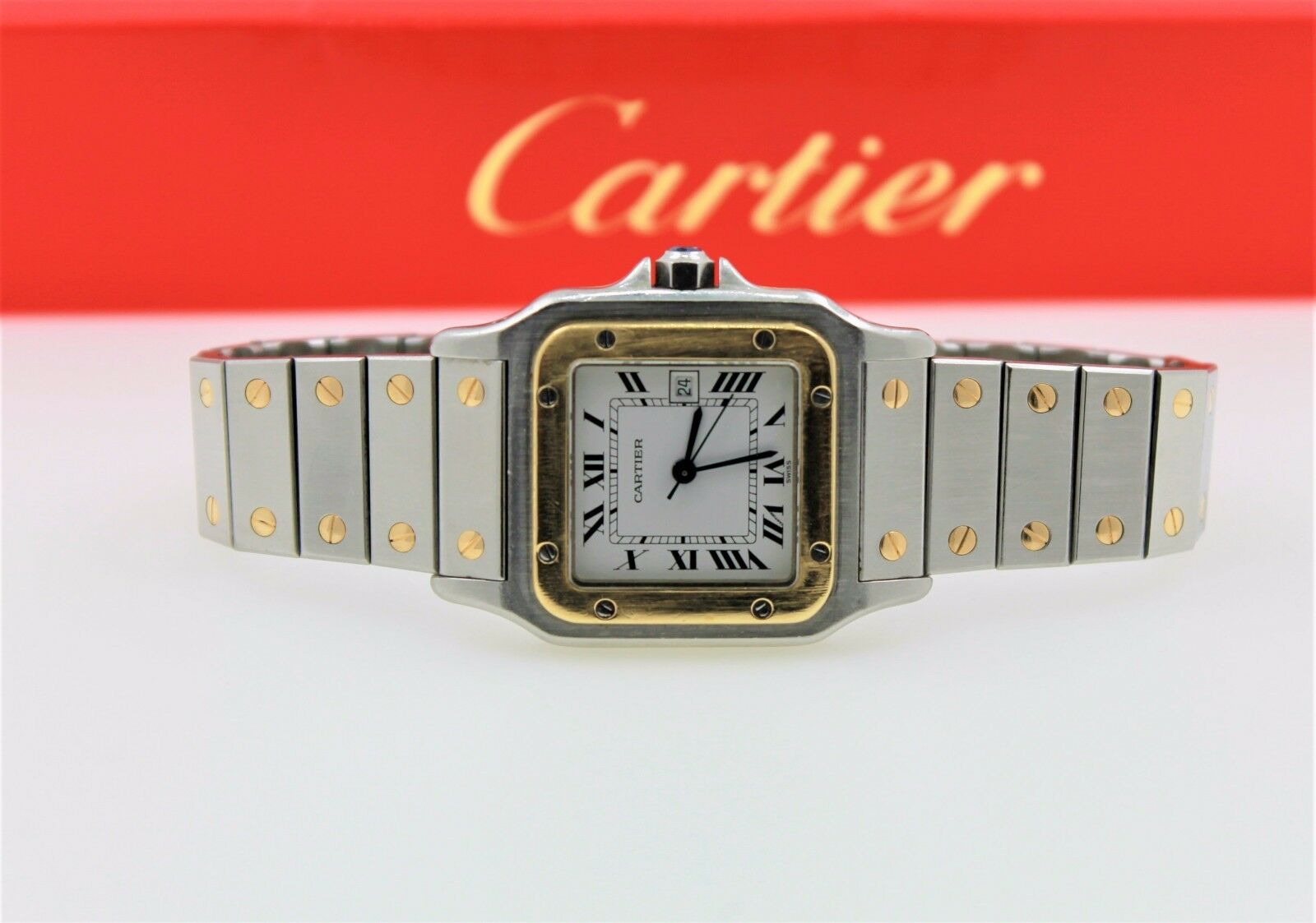 $2199.00 - CARTIER SANTOS GALBEE AUTOMATIC 18K GOLD/SS WHITE DIAL LUXURY SWISS MENS WATCH