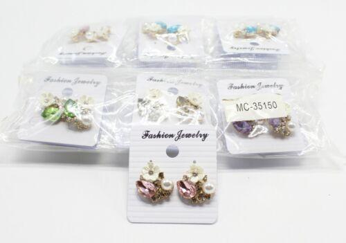 Wholesale Dozen Rhinestone Flower Post Back Earrings #MC35150-12