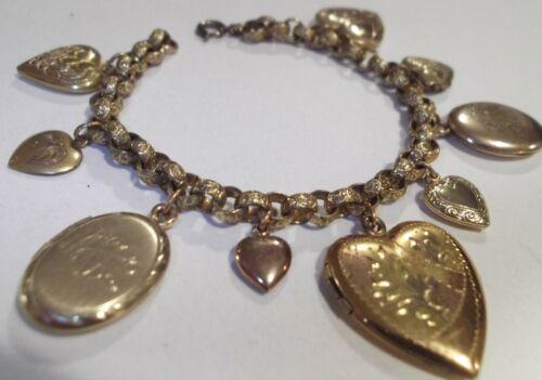 Vintage Embossed Brass Charm Bracelet & GF Gold Filled Heart & Oval Lockets