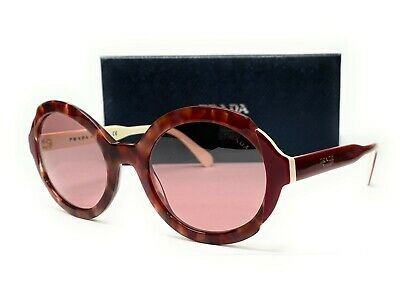 PRADA SPR 17U CDK-214 Pink Havana Light Violet Flash Silv Women's Sunglasses 53