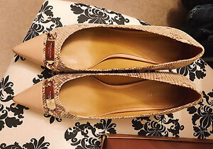 Coach shoes, heels, size 11, bone and snakeskin