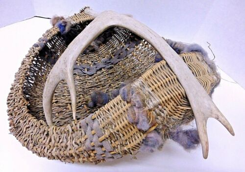 Artist+Handmade+Natural+Antler+Basket+with+Leather+%26+Hand+Spun+Yarn+-+Signed