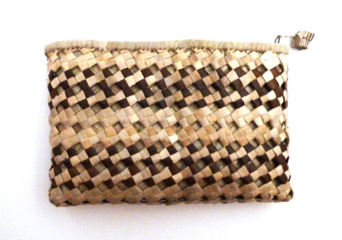 "Hawaiian Lauhala Clutch Purse - Double-Stripe - Medium 9"" x 6"""