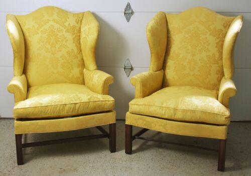 Pair of Kittinger Williamsburg Mahogany Wing Chairs Schumacher Fabric WA 1012