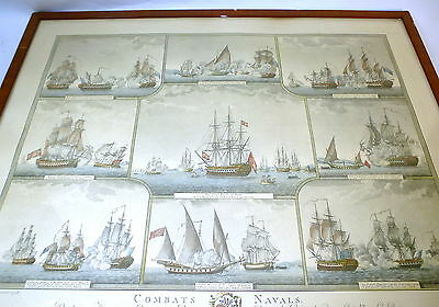 Kolorierte Lithographie Signiert Angeli Combats Navals Emeric Livourne 1798